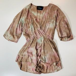 Blue Life 3/4 sleeve Romper Pink Green Brown Large